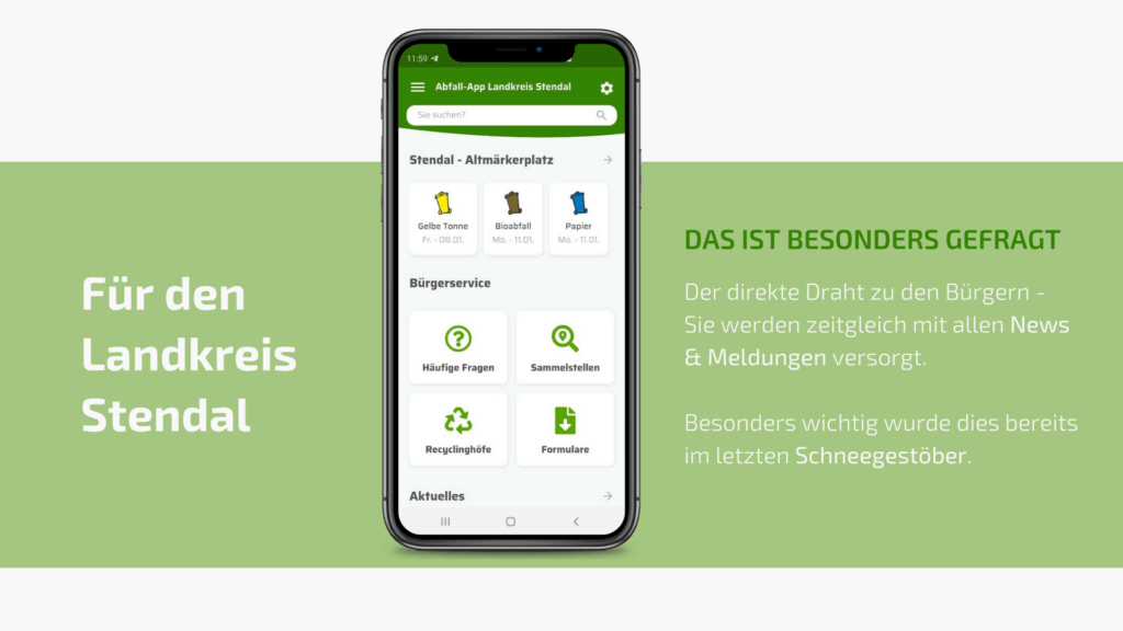 Die Abfall-App für den Landkreis Stendal, die ALS Stendal freut sich über Kommunikation mit ihren Bürgern und zahlreichen App-Nutzer.