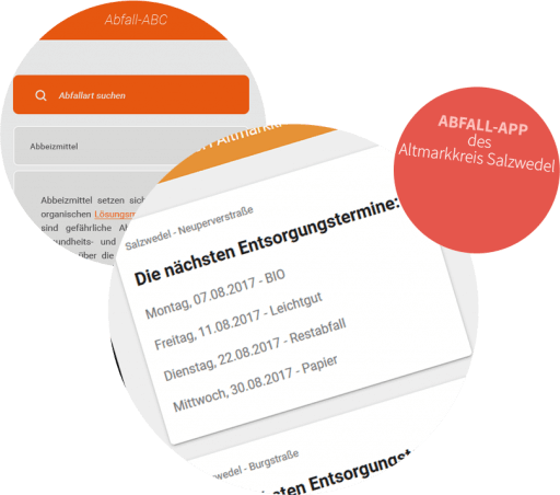 Bild: Funktionen der Abfall-App des Altmarkkreis Salzwedel z. B. die nächsten Entsorgungstermine, Abfallart suchen